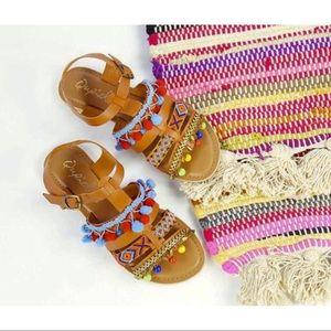 Multicolor Boho Ethnic Embellished Sandals